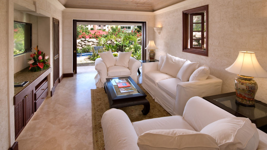 Ruime woonkamer, luxe appartement, Barbados, the Crane, 6 personen